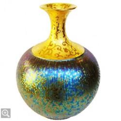 郭明本錳七彩結晶釉鎏金瓶(大美人瓶)