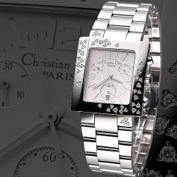 DIOR Riva Chrono Sparkling 飄舞真鑽奢華計時錶-白/32.5mm
